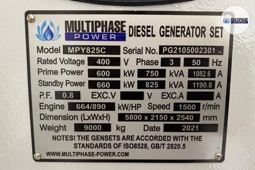 BANGKOK CRYSTAL CO., LTD.Generator Brand : Multiphase PowerGenerator Model : MPY825C (825 KVA)Engine : Cummins KTA38-G2Alternator : Stamford LVI634CController : DSE7320