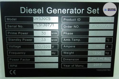 MultiphasePower Generator GMS30CS 6