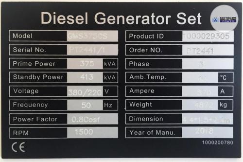 MultiphasePower Generator GMS375CS 7